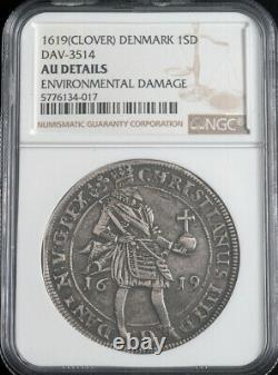 1619, Kingdom of Denmark, Christian IV. Silver Speciedaler Coin. Rare! NGC AU+