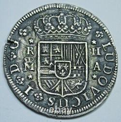 1724 Rare Luis I Spanish Silver 2 Reales Piece of 8 Real Colonial Two Bit Coin