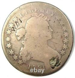 1796 Draped Bust Silver Dollar $1 Fair Details (Plugged) Rare Date Coin