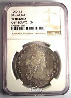 1799 Draped Bust Silver Dollar $1 Coin BB-161 B-11 NGC VF Detail Rare