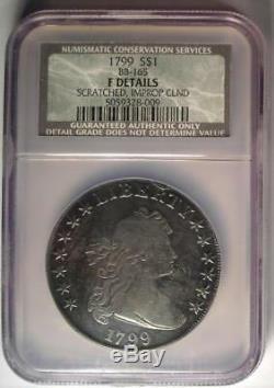 1799 Draped Bust Silver Dollar $1 Coin BB-165 NGC Fine Detail Rare