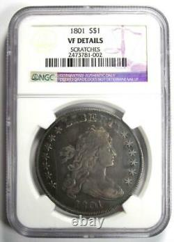 1801 Draped Bust Silver Dollar $1 Coin Certified NGC VF Details Rare