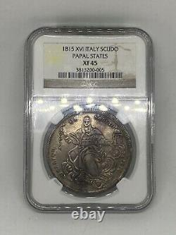 1815 Large Silver Coin ITALY Papal States Scudo XF 45 RARE! GORGEOUS TONE