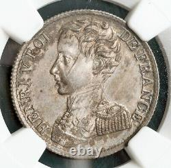 1831, France, Henry V. Rare Silver 1 Franc Coin. Pretender Coinage! NGC MS-62