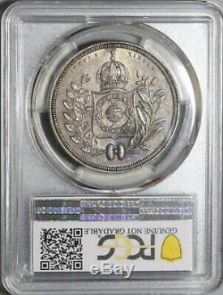 1835 PCGS AU Det Brazil 1200 Reis Crown Silver Coin Rare 10K (20020601C)