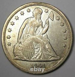 1841 Seated Liberty Silver Dollar $1 AU Details Rare Early Coin