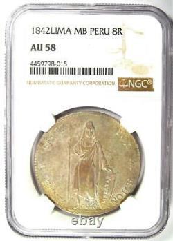 1842-Lima Peru Republic 8 Reales Coin 8R Certified NGC AU58 Rare