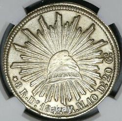 1843/31-Do NGC AU Det Mexico 8 Reales Durango Mint Rare Silver Coin (20040301C)