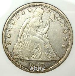1843 Seated Liberty Silver Dollar $1 ANACS XF45 (EF45) Rare Certified Coin