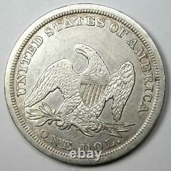 1847 Seated Liberty Silver Dollar $1 XF Details (EF) Rare Early Coin