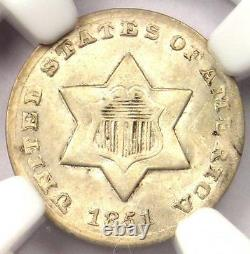 1851-O Three Cent Silver Piece 3CS NGC UNC Details Rare BU MS Certified Coin