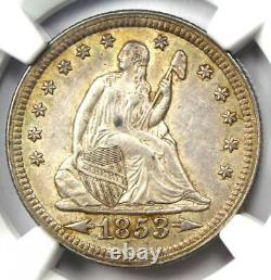 1853 Arrows & Rays Seated Liberty Quarter 25C Certified NGC AU55 Rare Coin