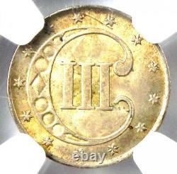1853 Three Cent Silver Coin 3CS Certified NGC UNC Details (MS) Rare Coin