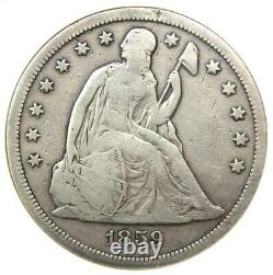 1859-S Seated Liberty Silver Dollar $1 Coin ANACS F12 Details Rare Date
