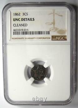 1862 Three Cent Silver Coin 3CS NGC UNC Details (MS) Rare Civil War Date