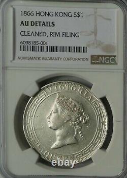 1866 Hong Kong Victoria Silver Dollar Coin NGC AU Rare