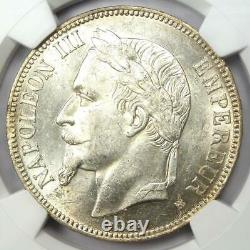 1869-BB France 5 Francs Napoleon III Coin 5F Certified NGC MS60 (UNC) Rare