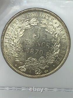 1870-A Paris France 5F 5 Francs Silver Coin NGC AU 58 Ceres No Motto RARE