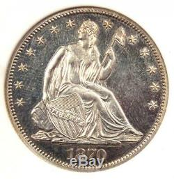 1870 PROOF Seated Liberty Half Dollar 50C ANACS PR60 Detail (PF60) Rare Coin