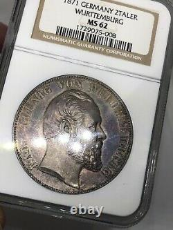 1871 Germany Wurttemberg Cathedral 2 Taler Silver Coin MS 62 RARE IN BLUE
