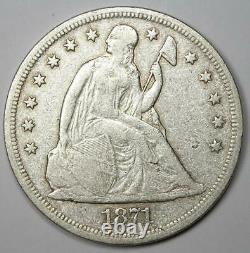 1871 Seated Liberty Silver Dollar $1 VF Details Rare Early Coin