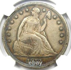 1872 Seated Liberty Silver Dollar $1 Certified NGC XF Detail (EF) Rare Coin