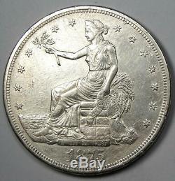 1875-CC Trade Silver Dollar T$1 AU Details Rare Carson City Coin