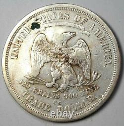 1875-CC Trade Silver Dollar T$1 VF Details with Chop Marks Rare Coin
