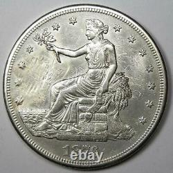 1876-CC Trade Silver Dollar T$1 AU Details (Smoothed) Rare Carson City Coin