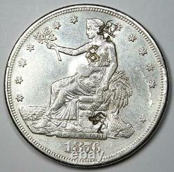 1876-CC Trade Silver Dollar T$1 AU Details with Chop Marks Rare Coin