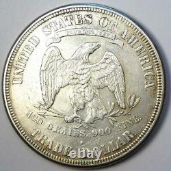 1876-S Trade Silver Dollar T$1 AU Details Rare Early Type Coin