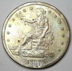 1877-S Trade Silver Dollar T$1 AU Details Rare Early Type Coin