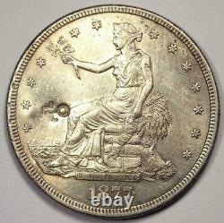 1877-S Trade Silver Dollar T$1 Excellent Condition with Chop Marks Rare Coin