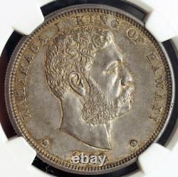 1883, Kingdom of Hawaii, Kalakaua I. Large Silver Dollar Coin. Rare! NGC AU-58