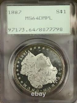 1887 Morgan Silver Dollar MS64DMPL OGH PCGS RARE THIS NICE! FROSTY CAMEO COIN