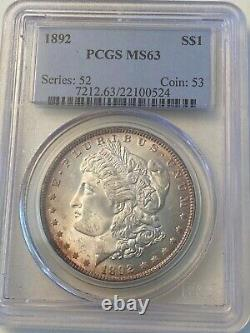 1892 Morgan Silver Dollar PCGS MS63 lovely toning on rare date coin