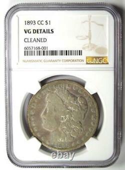 1893-CC Morgan Silver Dollar $1 NGC VG Details Rare Carson City Coin