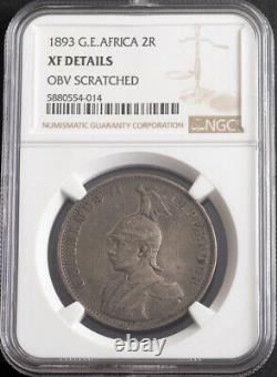 1893, German East Africa (DOA). Rare Silver 2 Rupien (2 Rupees) Coin. NGC XF+