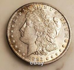 1893 P Morgan Silver Dollar BRIGHT AU Rare Old Coin