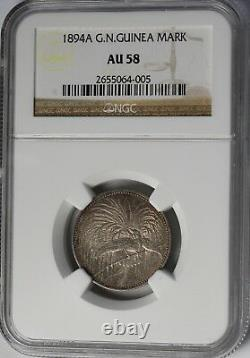 1894 German New Guinea 1 Mark Silver Coin 33k Minted NGC AU58 RARE