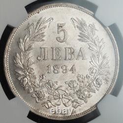 1894, Principality of Bulgaria, Ferdinand I. Rare Silver 5 Leva Coin. NGC MS-62