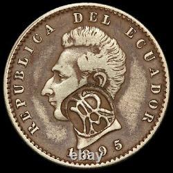 1895 Galapagos Islands 2 Decimos Ecuador Silver Coin RUL-CIT-19 RARE