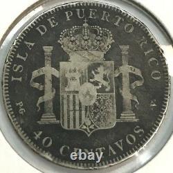 1896 40 centavos Puerto Rico Silver Rare Coin