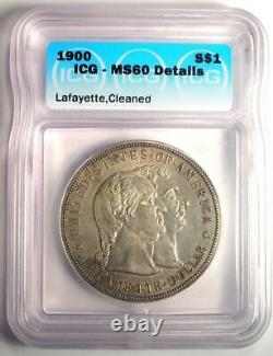 1900 Lafayette Silver Dollar $1 ICG MS60 Details Rare Certified BU Coin
