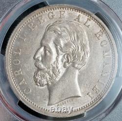 1901, Kingdom of Romania, Carol I. Large Silver 5 Lei Coin. Rare! PCGS AU-55