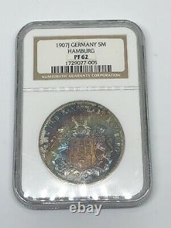 1907-J Germany Hamburg 5 M Mark SILVER Coin RAINBOW RARE PF 62 PROOF
