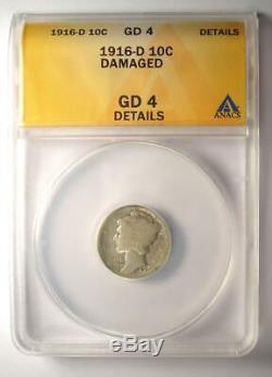 1916-D Mercury Dime 10C Coin Certified ANACS G4 Detail (Good) Rare Date Coin