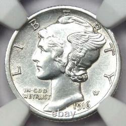 1916-D Mercury Dime 10C Coin Certified NGC AU Details Rare Key Date