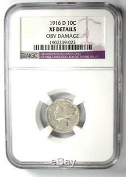 1916-D Mercury Dime 10C Coin Certified NGC XF Details Rare EF Key Date Coin