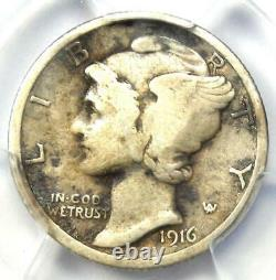 1916-D Mercury Dime 10C Coin Certified PCGS Fine Details Rare Key Date Coin